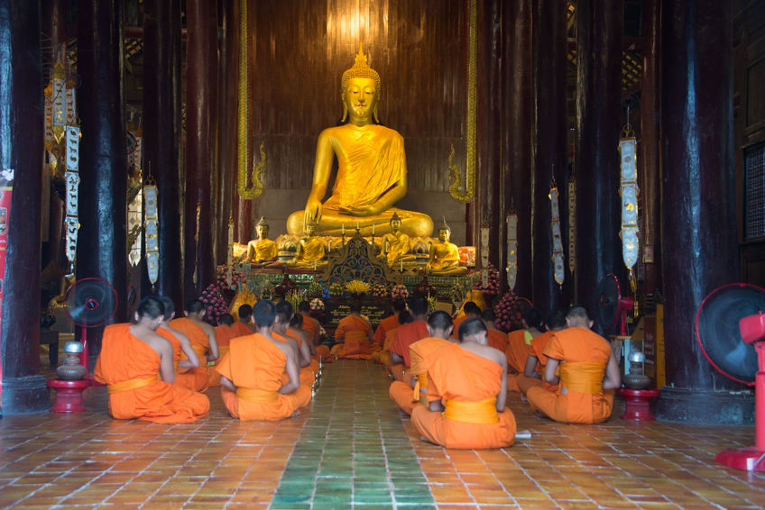 large buddha at temple in chiang mai