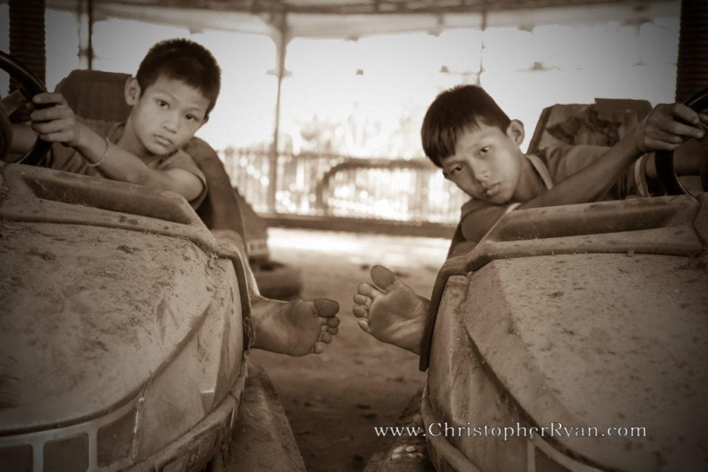 barefoot burmese boys