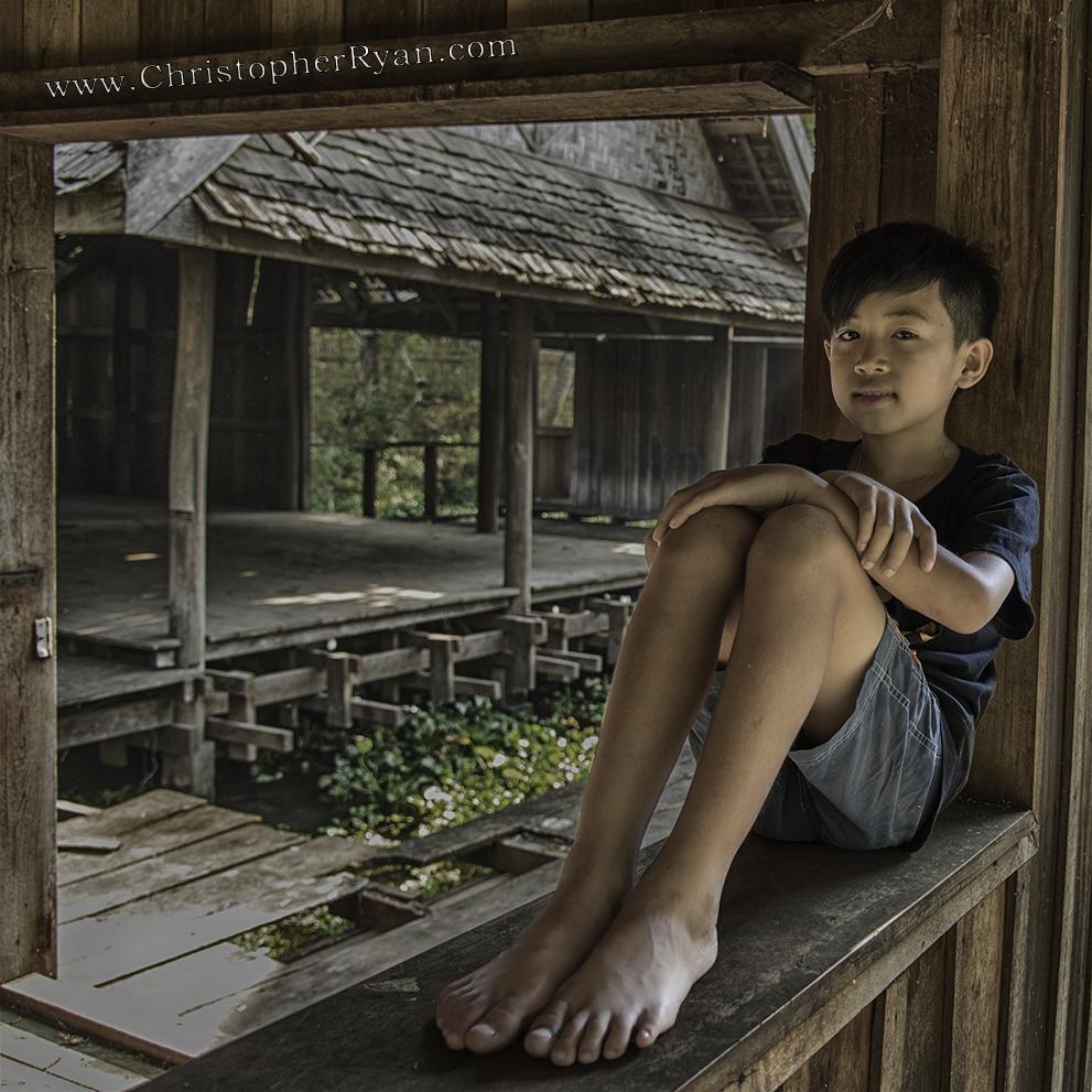 cute barefoot boy