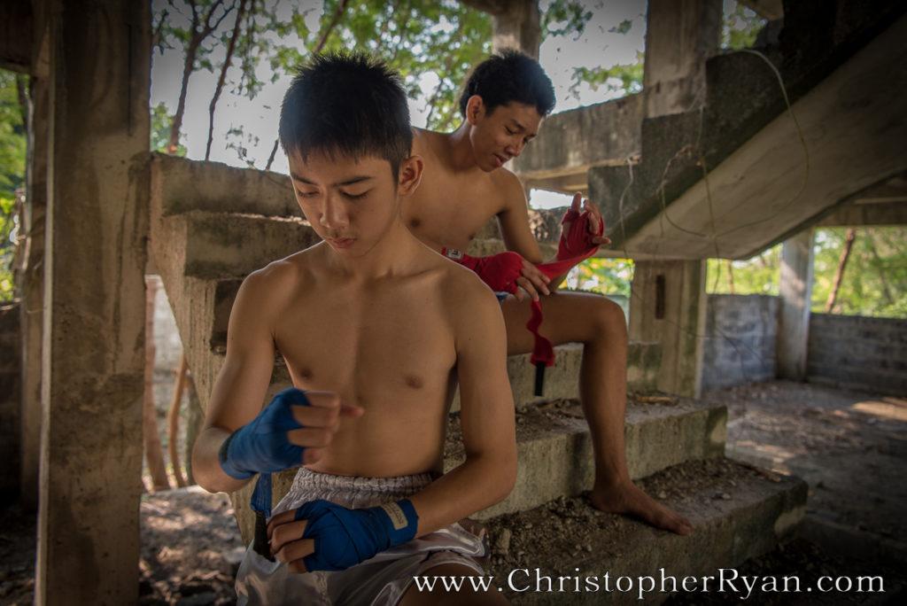 topless muay thai boxing teenage boys