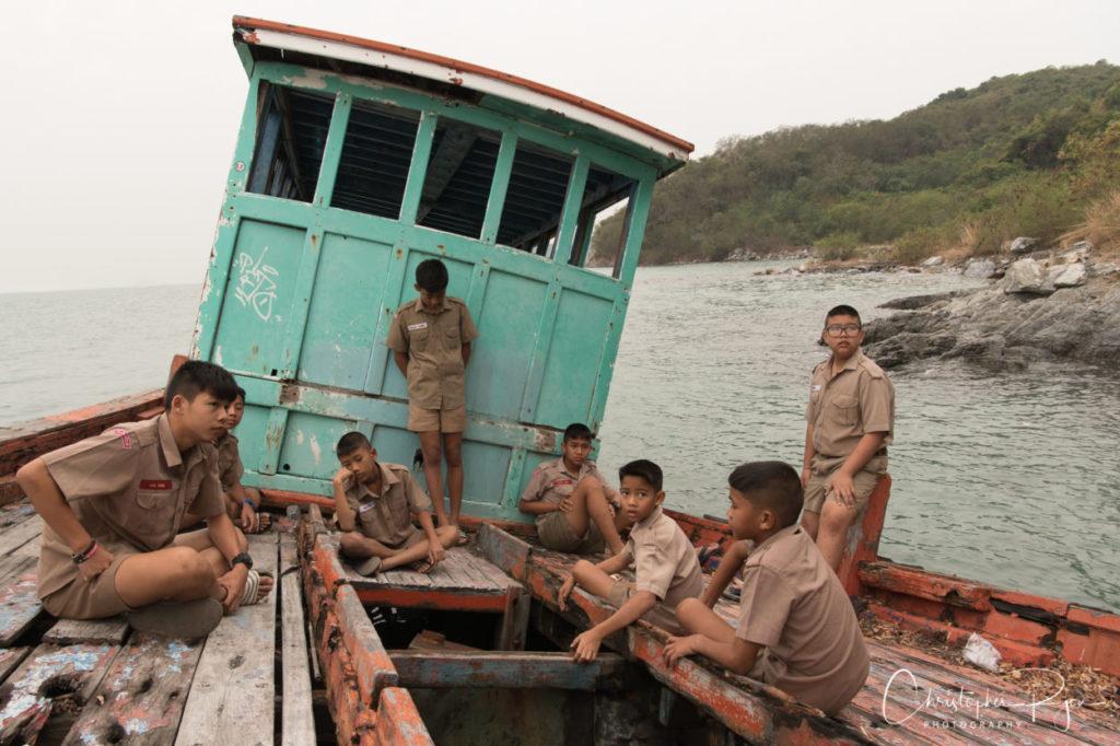 boyscouts on a boat