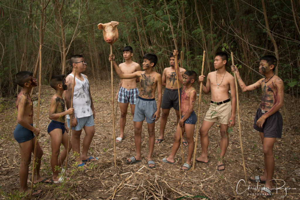 Jack with teen boys in Lord of the Flies